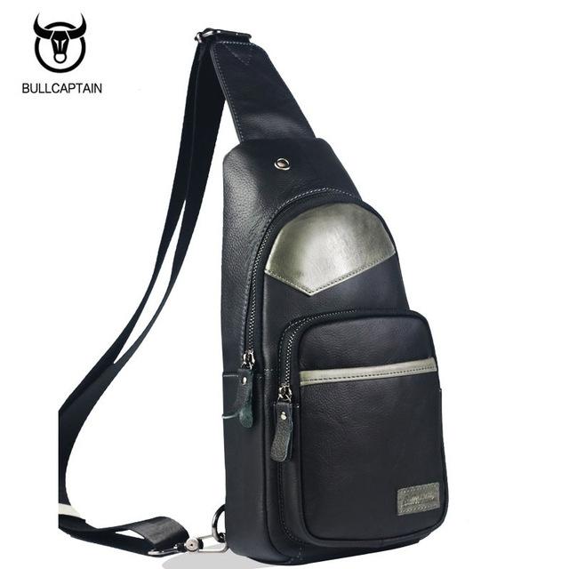 12964ea11882 BULLCAPTAIN 2018 MEN CHEST BAGS Fashion Genuine Leather Crossbody ...