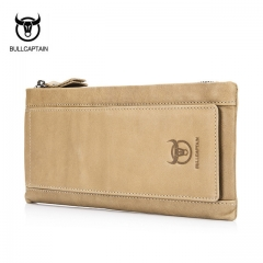 BULLCAPTAIN fashion genuine leather men wallets light card holders male clutch long wallet money bag khaki onesie