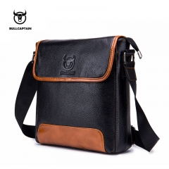 BULLCAPTAIN Men Shoulder Bag Classic Brand Male Leather Bag Vintage Style Casual Men Messenger Bags black small