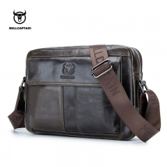 BULLCAPTAIN Men's Briefcase Leather Genuine Leather Men Bag Men Shoulder Bags Men's Crossbody livid small