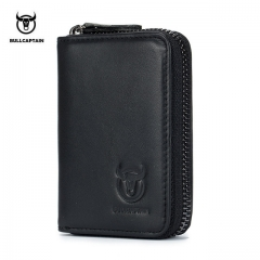 BULLCAPTAIN Business Women Card Holder Cards Men Card Pack Real Leather CardHolder Zipper Credit black onesie