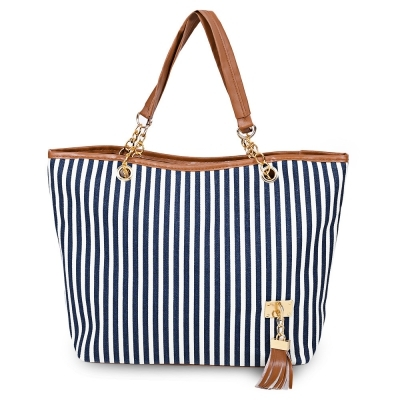 New Hot Striped Sailor Fashion Style Women Shoulder Bag Chain Handbag blue large