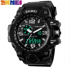 SKMEI Large Outdoor Sports Men Digital LED Waterproof Military Alarm Chrono Wristwatches 1155 Black normal