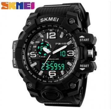 SKMEI 1155 Dial Dual Display Sport Digital Watch Men LED Electronic Analog Wristwatch Waterproof Black normal