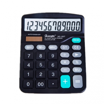 12 Digit Solar Calculator For Business Work / Students Study black portable