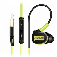 Super Bass Sweat Proof Sports Earphones Black+Green