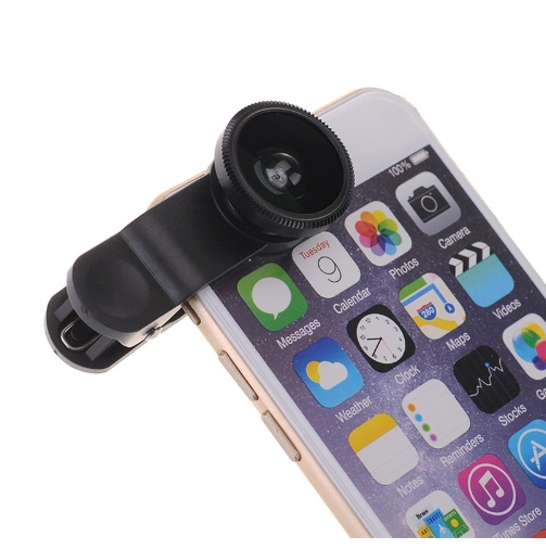 3 in 1 Mobile Phone Lens Fish Eye +Wide Angle +Macro Camera Lens for Iphone Huawei Infinix Phones black one size