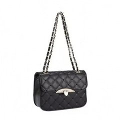 Handbag 2 Colors Plaid Chain Belt Fashion Shoulder Bags Black Black Normal