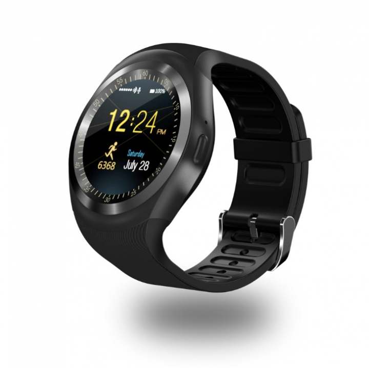 Y1 Phone Clock with Sim Card Slot Push Message Bluetooth WristWatch Android System black one size