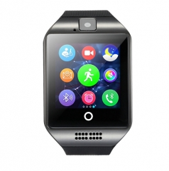 Q18 Phone Clock with Sim Card Slot Push Message Bluetooth WristWatch Android System black one size
