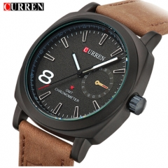 CURREN Brand Men Watch Fashion Sport Leather Wristwatches Relogio Masculino glod+black normal