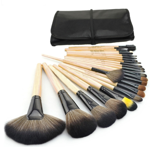 Professional 24 pcs Makeup Brush Set tools Toiletry Kit Wool Brand Make Up Brush Set burlywood As photo