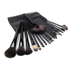 24PCS Professional Wooden Handles Makeup Brush Set Kit with Case Foundation Contour Eyebrow Brushes Black