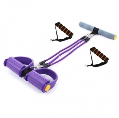 Fitness Pedal Exerciser Body Trimmer Chest Sit-up Pulling Rope Home Fitness Equipment 3 Using Way purple