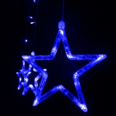For Christmass 12 LEDs Star String Light Decoration Lamp for Wedding Party multicolor random 250cm 8w