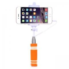 Mini Folding Wired Selfie Stick Handheld Extendable Monopod Non-slip Handle Orange one size