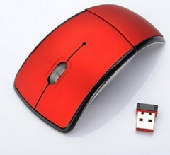 Foldable Wireless Arc Optical Mouse Mice with USB Receiver for PC Laptop Notebook Computer red one size