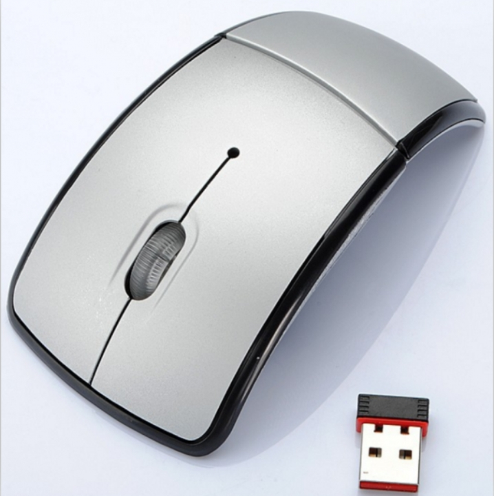 Foldable Wireless Arc Optical Mouse Mice with USB Receiver for PC Laptop Notebook Computer silver one size