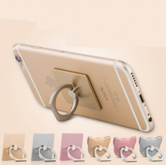 360 Degree Finger Ring Grip Mobile Phone Tablets Holder Stand Holder Back Cover 40*35*7mm gold cat