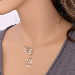 New fashion Jewelry Simple Personality Wild Temperament 2 Leaf Necklace Female Jewelry Necklace Gold Normal Size