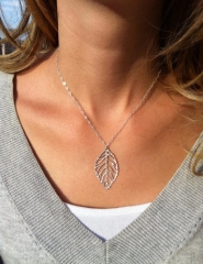 New Fashiion 1 Leaf Pendants Necklace Chain Necklaces Woman Fashion Accessories silver normal size