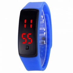 LED Digital Bracelet Watch Sport Silicone Strap Wristwatch for Men Women Children Gift Smart watch blue Normal size