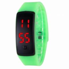 LED Digital Bracelet Watch Sport Silicone Strap Wristwatch for Men Women Children Gift Smart watch green Normal size