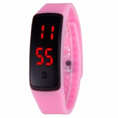 LED Digital Bracelet Watch Sport Silicone Strap Wristwatch for Men Women Children Gift Smart watch pink Normal size