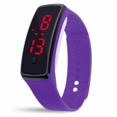 LED Digital Bracelet Watch Sport Silicone Strap Wristwatch for Men Women Children Gift Smart watch purple Normal size