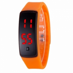 LED Digital Bracelet Watch Sport Silicone Strap Wristwatch for Men Women Children Gift Smart watch Orange Normal size