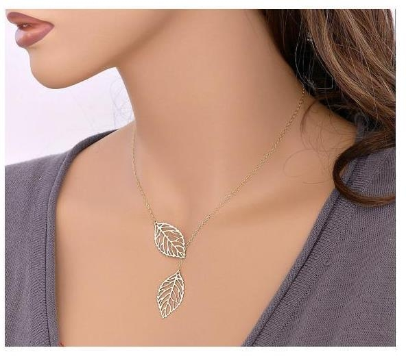 New fashion Jewelry Simple Personality Wild Temperament 2 Leaf Necklace Female Jewelry Necklace Silver Normal Size