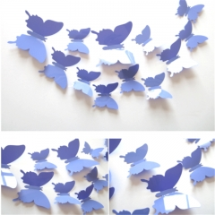 12PCS/Set Butterflies 3D Wall Stickers Home Decor Art for Wedding Party Wall Decoration Wallpaper light purple 12pcs per  packing