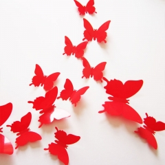 12PCS/Set Butterflies 3D Wall Stickers Home Decor Art for Wedding Party Wall Decoration Wallpaper red 12pcs per  packing