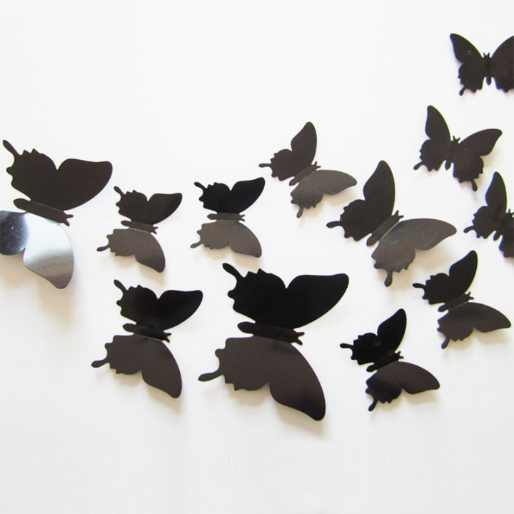 12PCS/Set Butterflies 3D Wall Stickers Home Decor Art for Wedding Party Wall Decoration Wallpaper black 12pcs per  packing