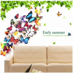 19pcs/set New Arrival Colorful 3D Butterfly Wall Stickers Party Wedding Decor DIY Home Decorations Colorful One size