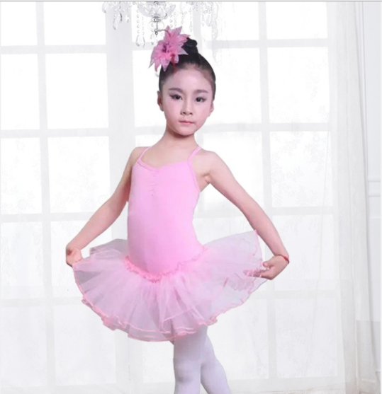 Kids Short Sleeve Fancy Party Tulle Ballet Dance Dress Gymnastics Leotard Girls Ballerina pink 130