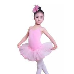 Kids Short Sleeve Fancy Party Tulle Ballet Dance Dress Gymnastics Leotard Girls Ballerina pink 110