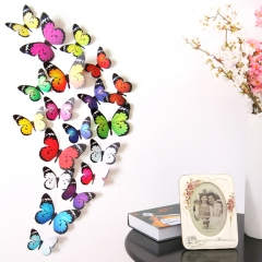 19pcs/set New Arrival Colorful 3D Butterfly Wall Stickers Party Wedding Decor DIY Home Decorations