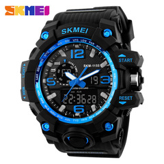 SKMEI Large Outdoor Sports Men Digital LED Waterproof Military Alarm Chrono Wristwatches 1155 Blue normal