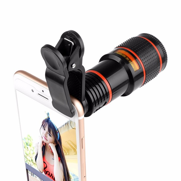 Clip-on 12x Optical Zoom Mobile Phone Telescope Lens HD Telescope Camera Lens For Universal Phones black one size