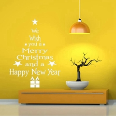 Merry Christmas Wall Sticker Window Stickers Christmas Ornaments  for Home New Year white one size