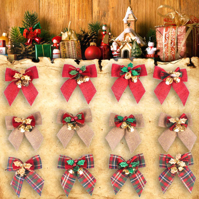 New Christmas Tree Bow Decoration Baubles Xmas Party Garden Bows Ornament gold one size