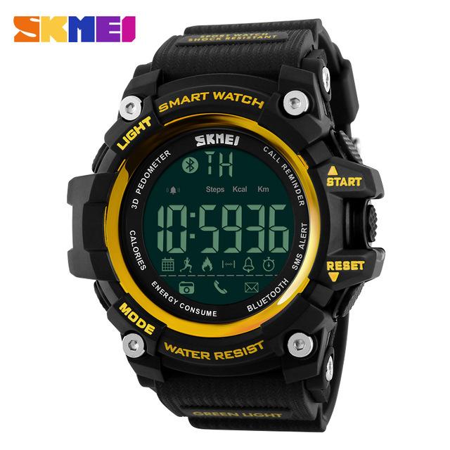 SKMEI 1227 Men Smart Watch Pedometer Calories Outdoor Sports Watches Waterproof Digital Wristwatch Yellow normal