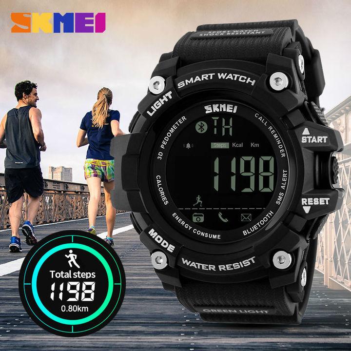 SKMEI 1227 Men Smart Watch Pedometer Calories Outdoor Sports Watches Waterproof Digital Wristwatch black normal