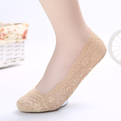 1 Pairs Cotton Lace Anti-skid Invisible No Show Ankle Socks Random Color random one size light khaki No Show Ankle
