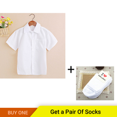 New Arrival Summer Short Sleeve Clothes White School Girls Boys Shirts Turn-down Collar Boy Shirt white 140