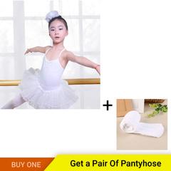 Kids Short Sleeve Fancy Party Tulle Ballet Dance Dress Gymnastics Leotard Girls Ballerina white 110