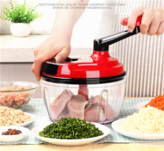 1.5L Kitchen Meat Grinder Vegetable Chopper Household Manual Baby Ingredients Mincer red as the specifications