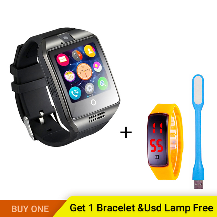 Q18 Phone Clock with Sim Card Slot Push Message Bluetooth  Android System WristWatch black one size