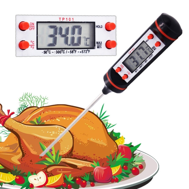 Digital Food Thermometer For Cake BBQ Food Meat Temperature Household Thermometers with Long Probe BLACK 225mm